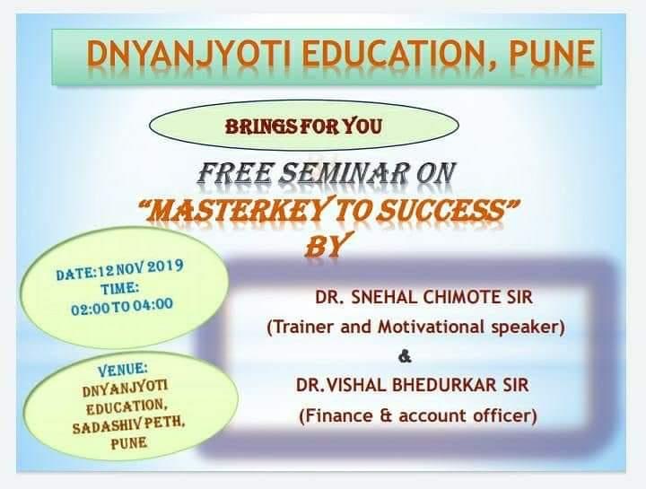 Free Seminar on 'Masterkey to Success'