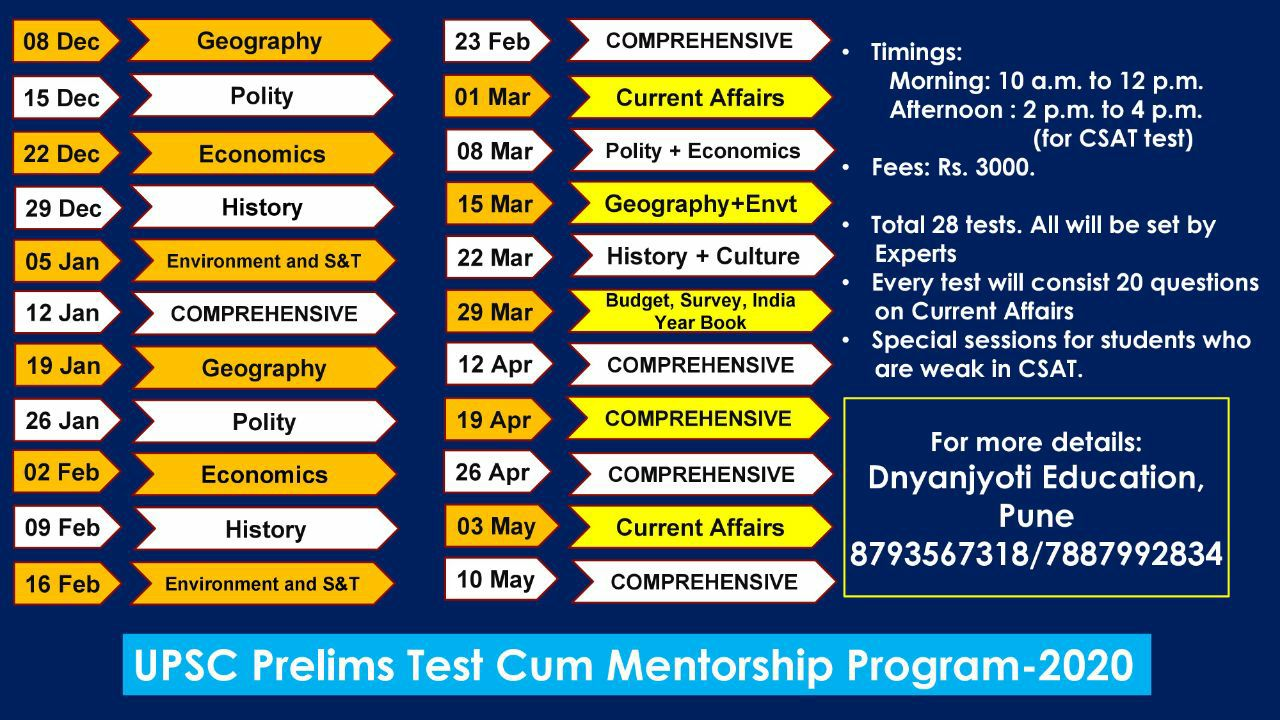 UPSC Prelims Test Cum Mentorship Program - 2020